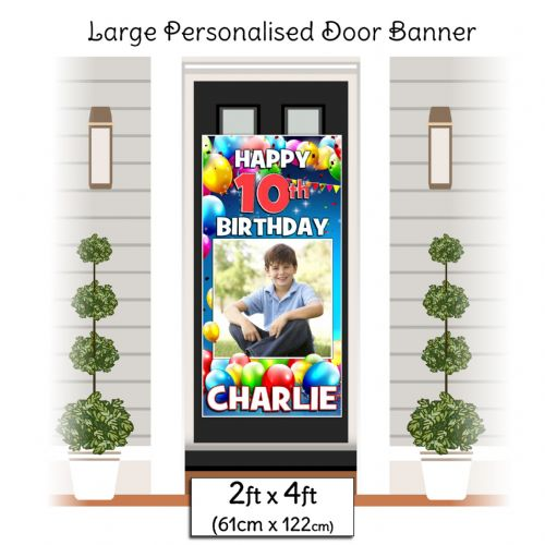 Personalised Happy Birthday Door PHOTO Banner Poster ~ Colourful Balloons N33 Any Age